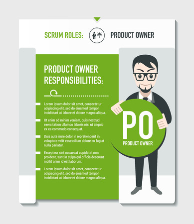 Scrum roles - Product owner responsibilities template in scrum development process on light grey background Stock Illustratie