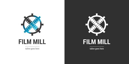 Film mill logo template on dark and light backgrounds