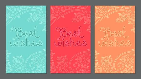 Card with best wishes lettering on floral, oriental background