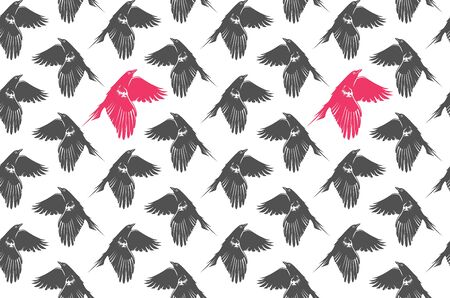Grey-pink pattern with flying crows