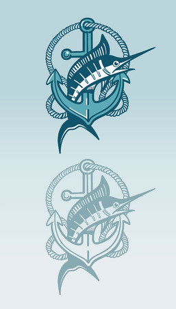Swordfish and anchor symbol Çizim