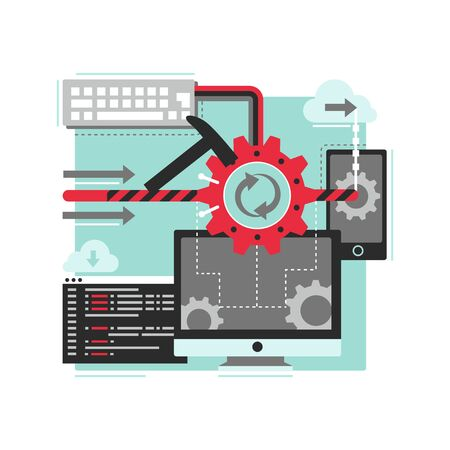 Software development illustration in flat style