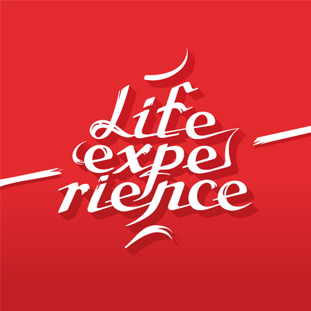 Life experience lettering on the red background Ilustração