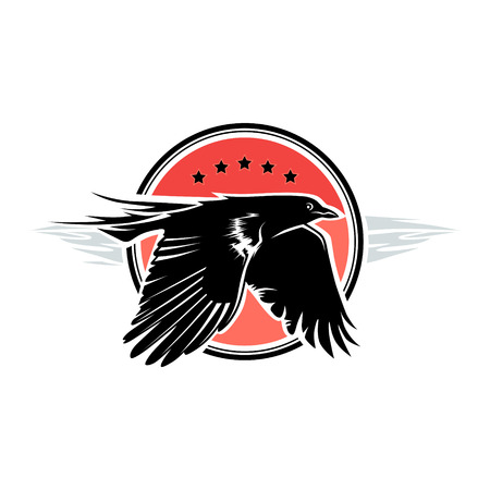 Black crow is flying on the red round background Çizim