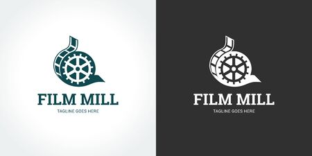 Film mill logo on two backgrounds Ilustração