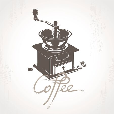 Coffee mill with some coffee beans. Ilustração
