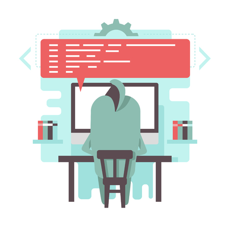 Funny programmer character is writing code