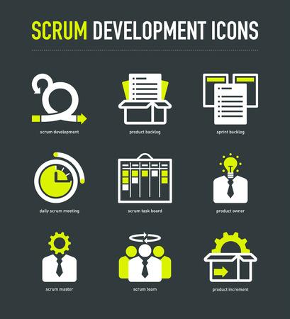 scrum: Scrum development methodology icons on dark grey background Illustration