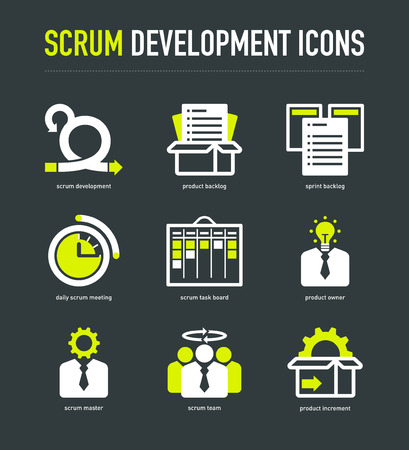 Scrum development methodology icons on dark grey background Illustration