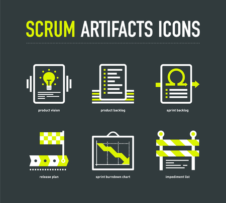 scrum: Scrum artifacts icons on the dark grey background