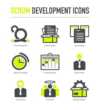 Scrum methodiek ontwikkeling pictogrammen