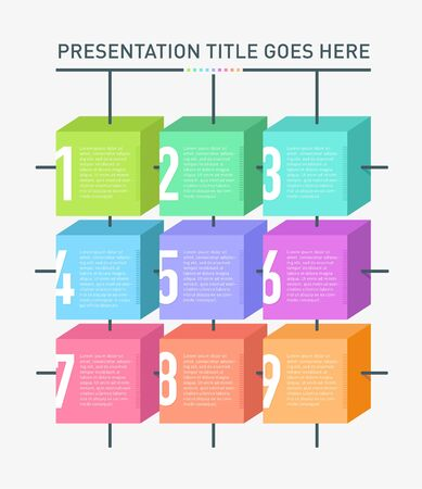 Modern Minimal style infographic template with 9 coloured info boxes on light background