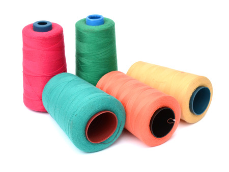 microfiber: Colorful skeins of thread isolated .. Stock Photo