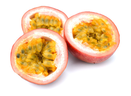 globular: Close-up of a passion fruit split .. Stock Photo