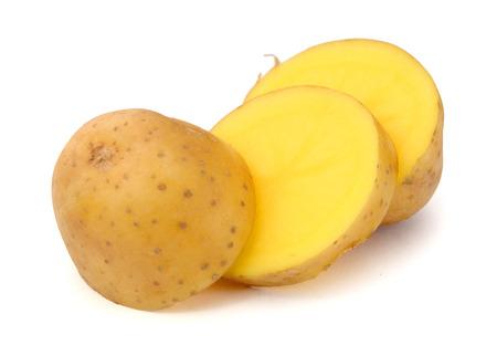 Fresh potatoes isolated on white ..