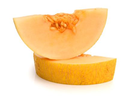 Half of cantaloupe melon isolated ..