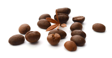 Coffee beans on a white background Stock Photo