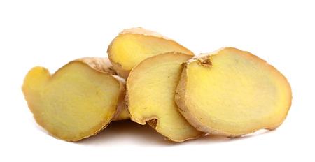 energy healing: ginger on white background