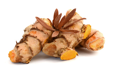 Turmeric on a white background