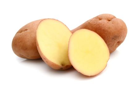 Fresh potatoes on a white background Stock Photo