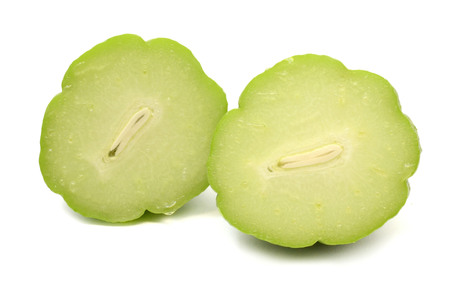chayote with leafs on white background