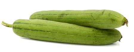 Angled Loofah Sponge gourd isolated on white background Banque d'images