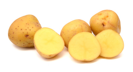 Three fresh potato isolated on white background