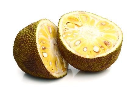 Ganze Jackfruit isoliert auf weißem Hintergrund . Tropische Früchte Standard-Bild
