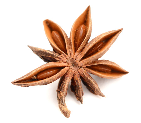 star anise isolated on a white background Banco de Imagens