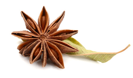star anise spice isolated on white background closeup Stock Photo