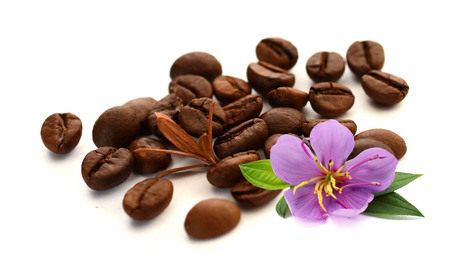 Coffee beans isolated on white Foto de archivo - 116705811