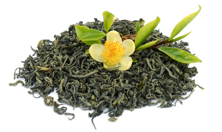 Benshan oolong chinese tea closeup macro isolated Archivio Fotografico - 119796159