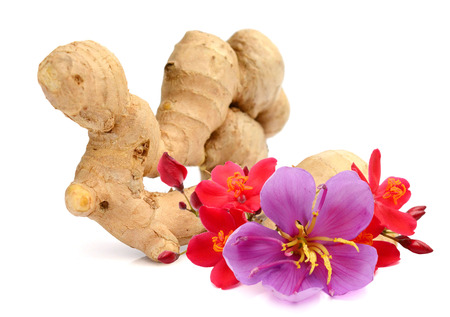 Fresh ginger on a rustic wooden background 免版税图像