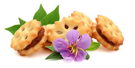Close up crackers isolated on white background