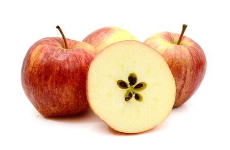 One whole, half and two slices of Gala apple, isolated on white background Stok Fotoğraf - 129218247