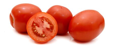 Group of whole fresh red cherry tomatoes and two cherry halves isolated on white background Stok Fotoğraf - 129218249