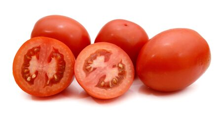 bunch of mixed red and yellow cherry and italian tomatoes and some halves on a white background