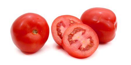fresh and colorful italian roma tomato slices on a white background Stok Fotoğraf - 129218834