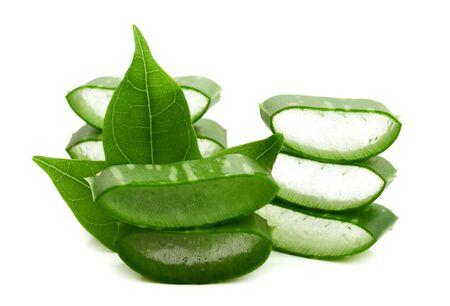 aloe vera fresh leaf. isolated over white 版權商用圖片