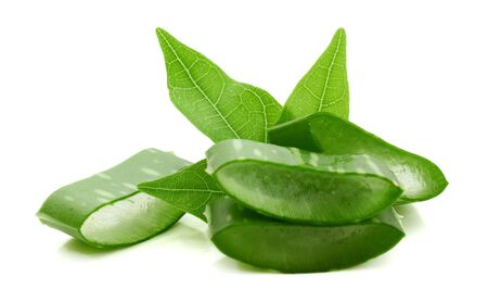 Slice Aloe Vera (Aloe barbadensis Mill.,Star cactus, Aloe, Aloin, Jafferabad or Barbados) a very useful herbal medicine for skin care and hair care.