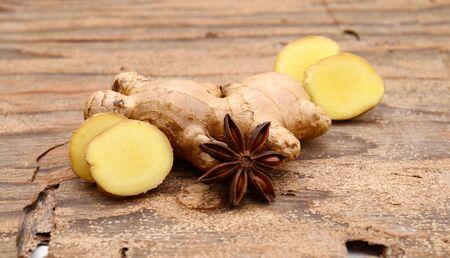 fresh ginger on isolated white background.