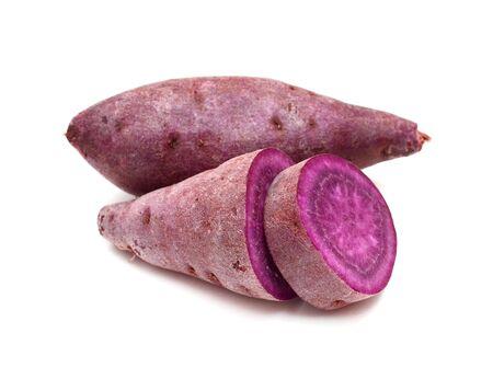 Purple sweet potato on white background