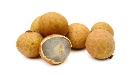 Dimocarpus longan exotic fruits isolated on white background