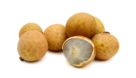 Close up of longan on a white background