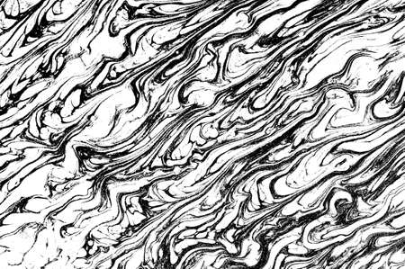 Black and white marbling background. Unique artwork texture. Marble pattern imitation. Stock illustration.