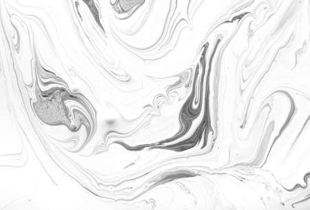 Liquid black and white marbled pattern. Monochrome background