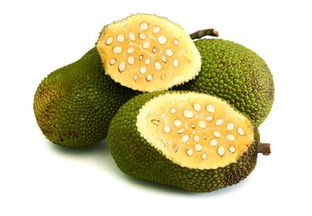 Ripe Jackfruit isolated on white background, Fresh Jack Fruit on white background.