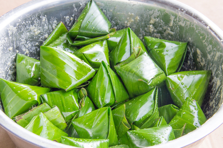 sweet Thai dessert in banana leaf Stock Photo