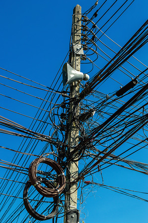 Old Electricity Or Telegraph Pole, White Wire And Cables Stock ...