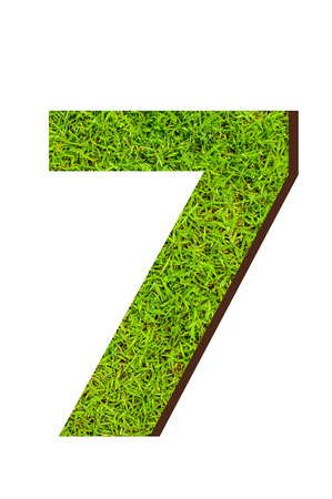 numeration: number 7 from the green grass. isolated on white Stock Photo